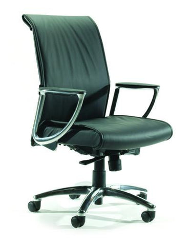 Bentley Midback Chair - Black Leather - commercial traders office furniture