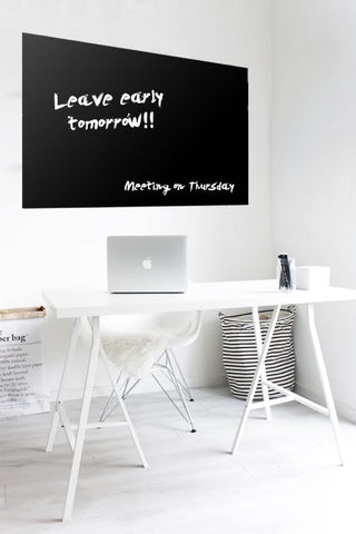 Glass Writing Board - Black 900 x 1200-Glass Whiteboards-No Thanks-Commercial Traders - Office Furniture