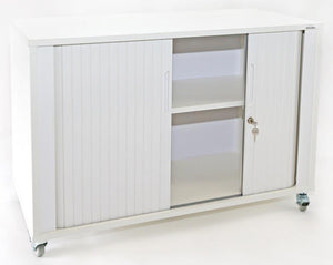 Essentials Mobile Tambour - Small 2 Doors-Unclassified-White Doors-Auckland Delivery-Commercial Traders - Office Furniture