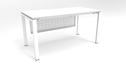 Alti 1500 x 750 Desk With Modesty Panel-Office Desks-White-Black-Delivery to North Island-Commercial Traders - Office Furniture
