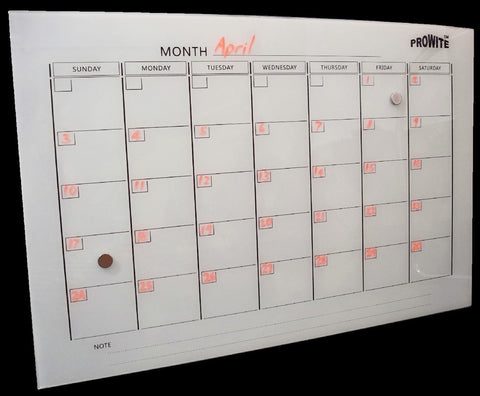 Prowite Glass Board printed magnetic month planner 600 x 900 White-Glass Whiteboards-Default-Commercial Traders - Office Furniture