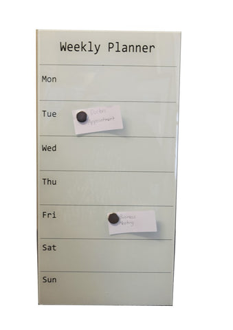 Prowite Glass Board printed magnetic week planner  300 x 600 White