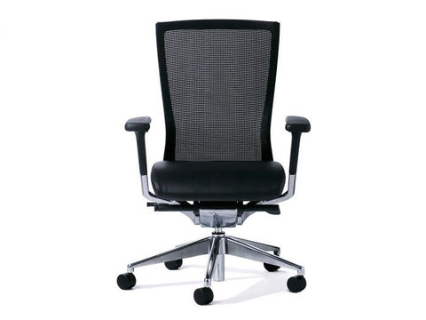 Balance Mesh Chair - Black PU/Alloy Base-Office Chairs-Yes Plse-Alloy Base-Flat Pack Please-Commercial Traders - Office Furniture