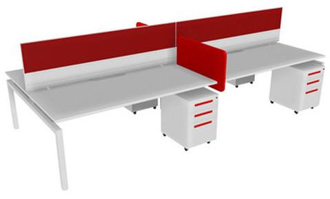 Balance 1500 Desk 4 Person Full Package-Unclassified-Affinity Maple-Silver-Bond-Commercial Traders - Office Furniture
