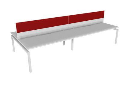 Balance 1500 Desk 4 Person - With Screens-Unclassified-Snowdrift-White-Orion-Commercial Traders - Office Furniture