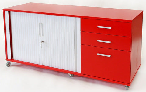 Essentials Mobile Tambour - Large 2 door/drawer - commercial traders office furniture