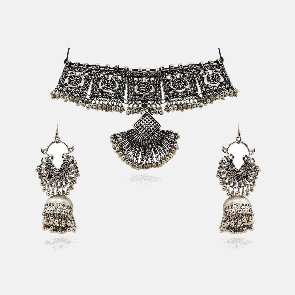 Queen Choker silver oxidised Set