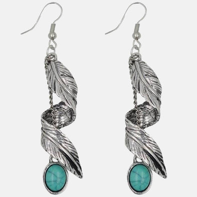 Ethnic Feather Drop Earring