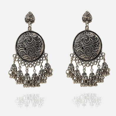 Statement Banjara Silver Oxidised Earring