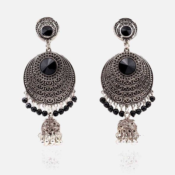 Royal Textured Silver Oxidised Earring