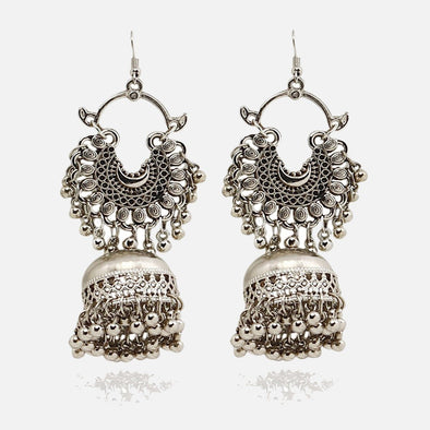 Queen Silver Oxidised Earring