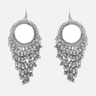 Beaded Contemporary Silver Oxidised Earring