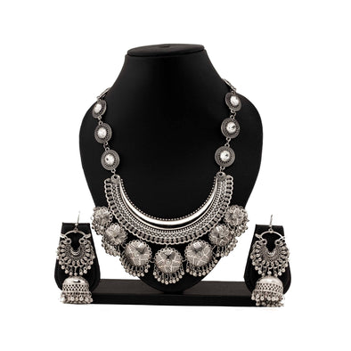 Stone Studded silver oxidised Set