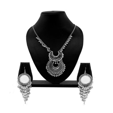 Beaded Contemporary silver oxidised Set