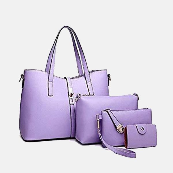 Buy Lacira Stylish Leather Handbags-Set of 4-Purple Online in India ...