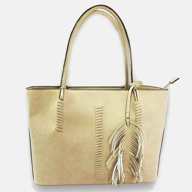 Lacira Leather Tote with Tassels Bag-Beige