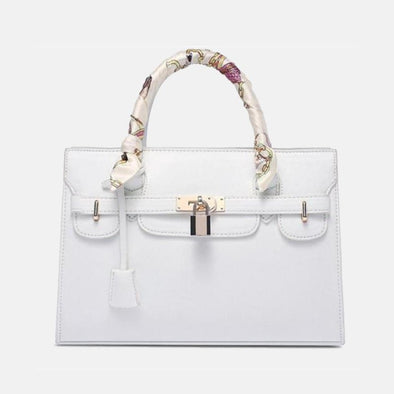 Cross Pattern Designer Handbag - White