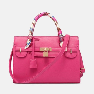 Cross Pattern Designer Handbag - Hot Pink
