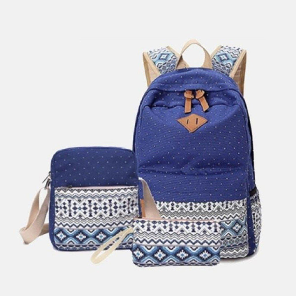 Lacira Printed Canvas Backpack (Set of 3) Blue, Purple & Black