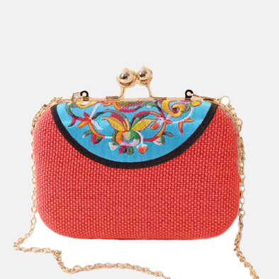 Embroidered Clutch Bag-Blue