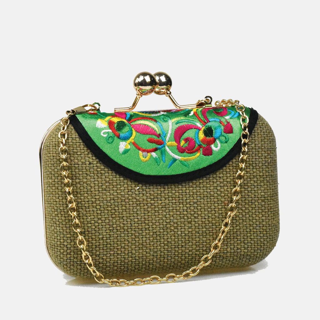 Embroidered Clutch Bag-Green