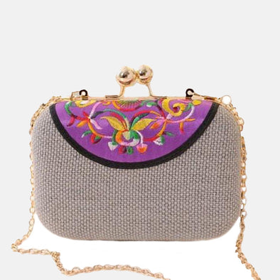 Embroidered Clutch Bag-Purple
