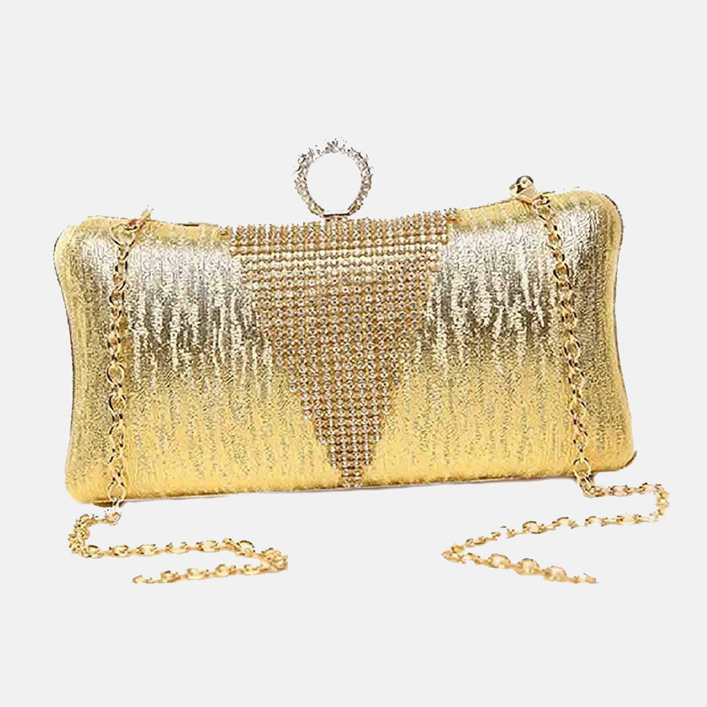 Evening Crystal Clutch Bag-Golden