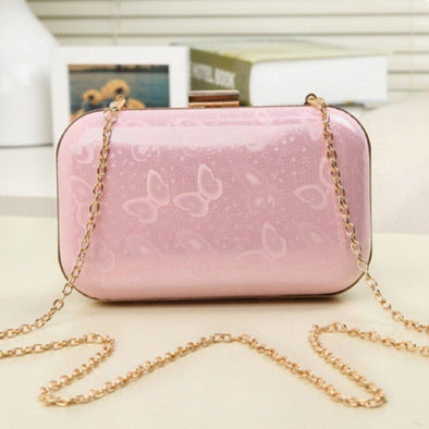 Leather Box Clutch Bag-Pink