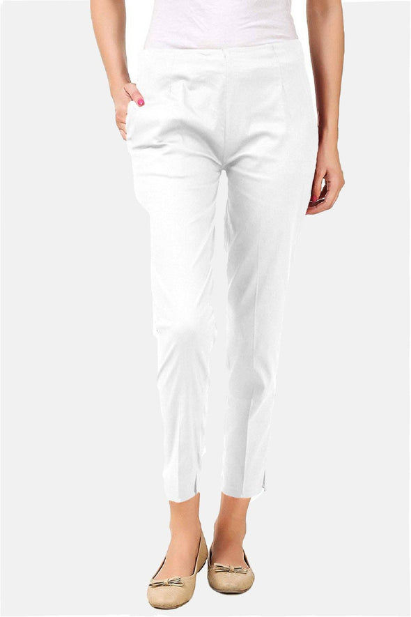 Cigarette Pants (White) Slim Fit