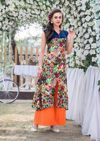 Multi-Color with front cut kurti