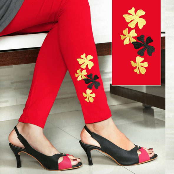 Embroidered Leggings (Free Size) Heavenly Flowers