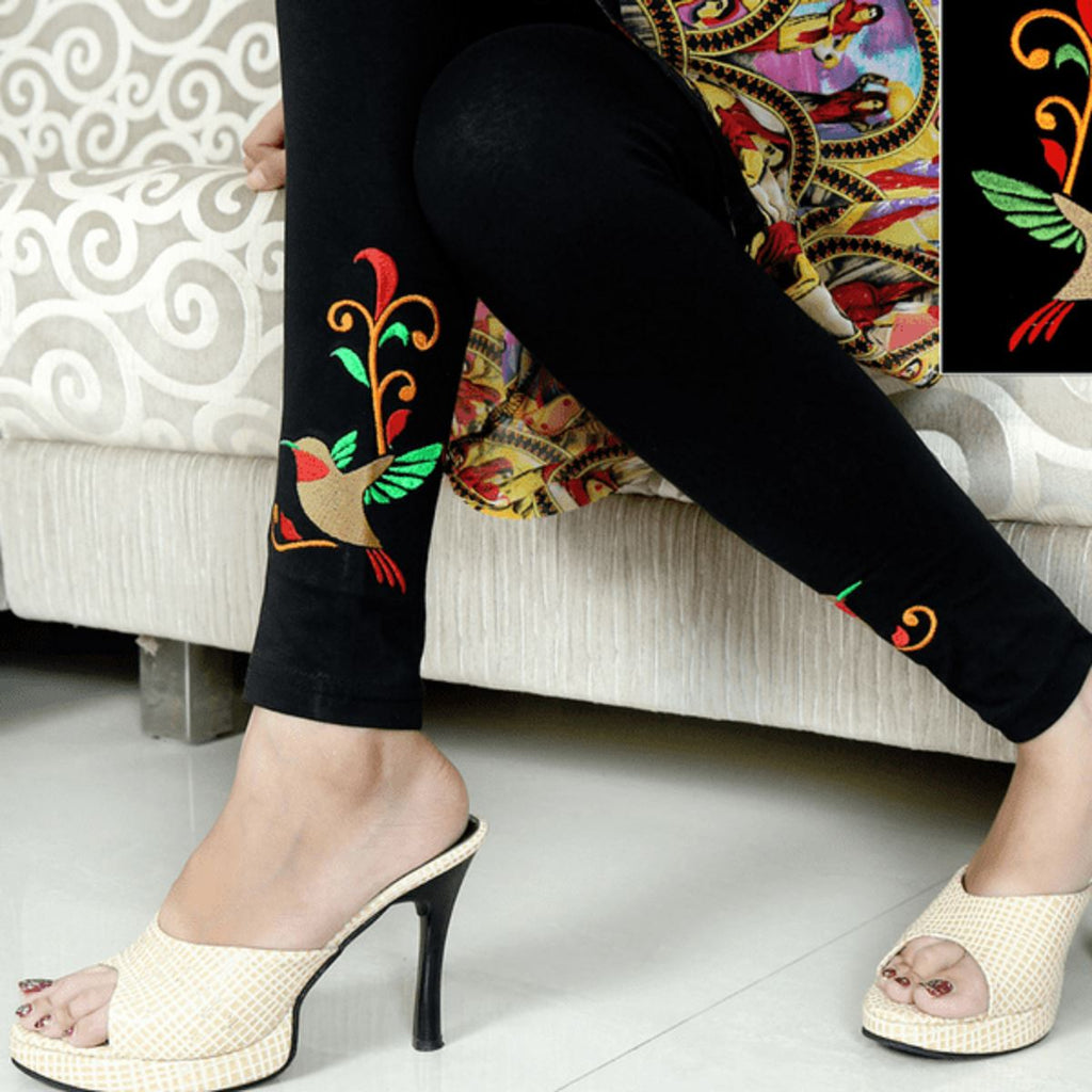 Embroidered Leggings (Free Size) Humming Bird