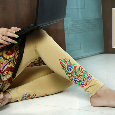 Embroidered Leggings (Free Size) Peacock