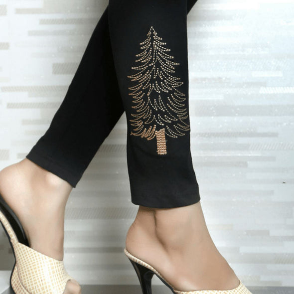 Embroidered Leggings (Free Size) Silver Tree