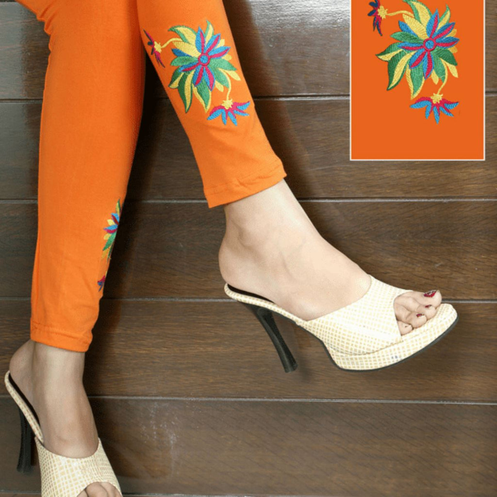 Embroidered Leggings (Free Size) Three Flowers