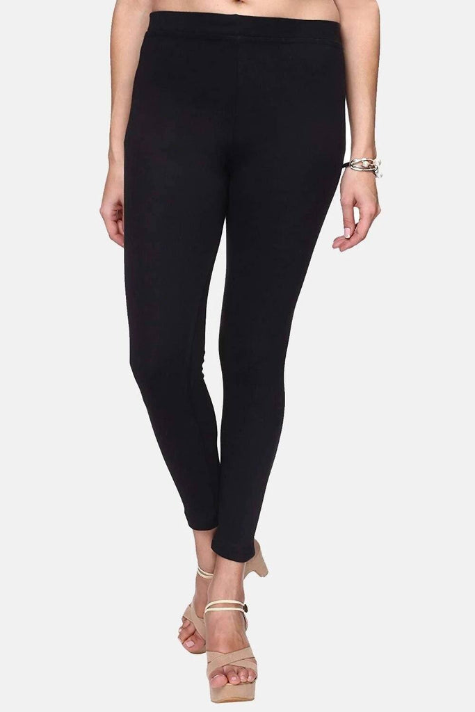 Plain Cotton Ankle Length Legging (Size:-Fit to 34 Inch to 56 Inch) - Black & Green