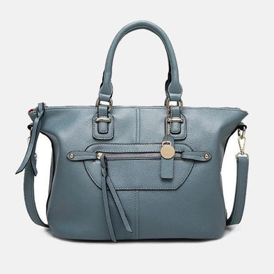 High-Street Leather Handbag-Light Blue