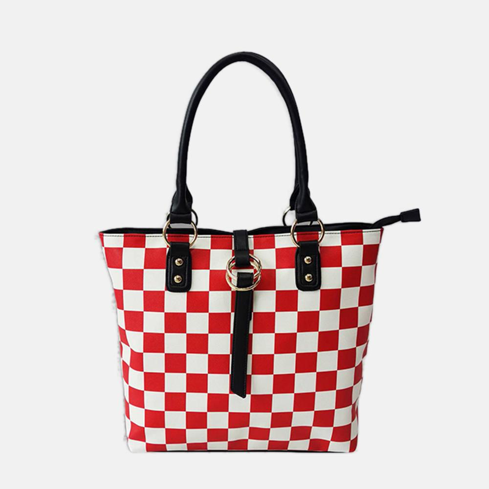 Lacira European trendy checks bag-Red and White
