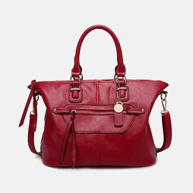 High-Street Leather Handbag-Wine Red