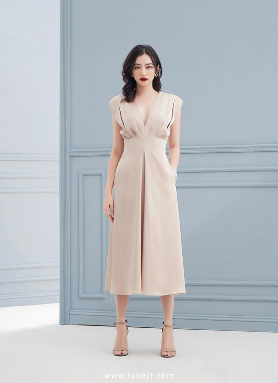 ISA Pleated Shoulder Midi Dress