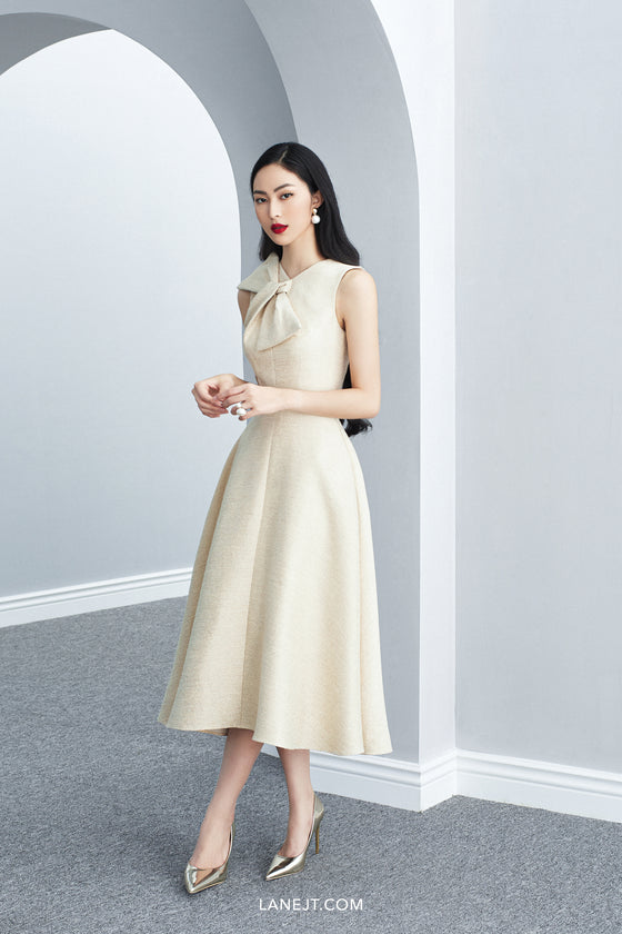 XAVIER Bow Collar Midi Dress