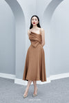BEYNON Front Draped Midi Dress