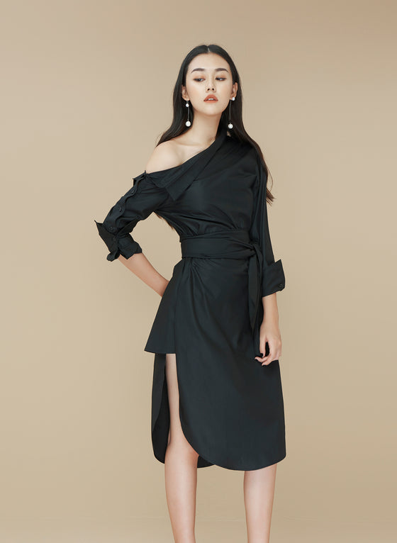 Tie Front One-shoulder Shirt Dress
