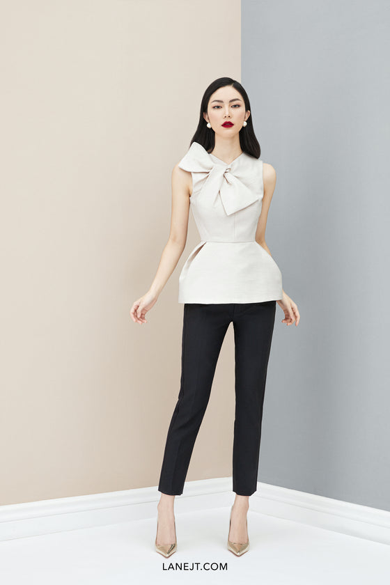 Bow collar draped Top