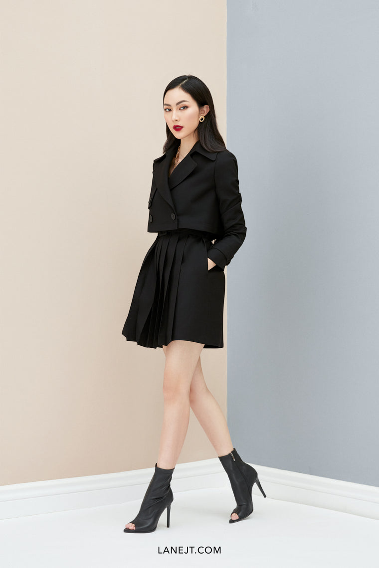 PIERRE Crop Pleated Trench Coat