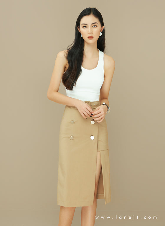 BILLIE Asymmetric Button Trench Skirt