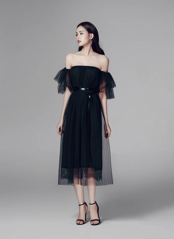 DARCI OFF-THE-SHOULDER SHEER DRESS