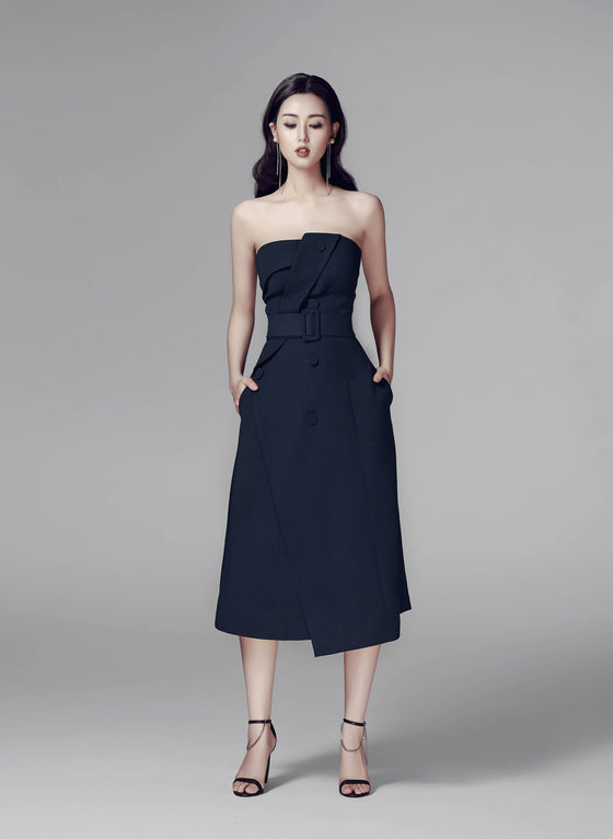 RAQUEL STRAPLESS MIDI DRESS