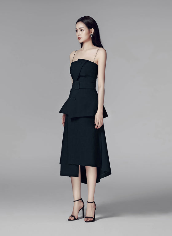 CLARA STRUCTURED MIDI SKIRT