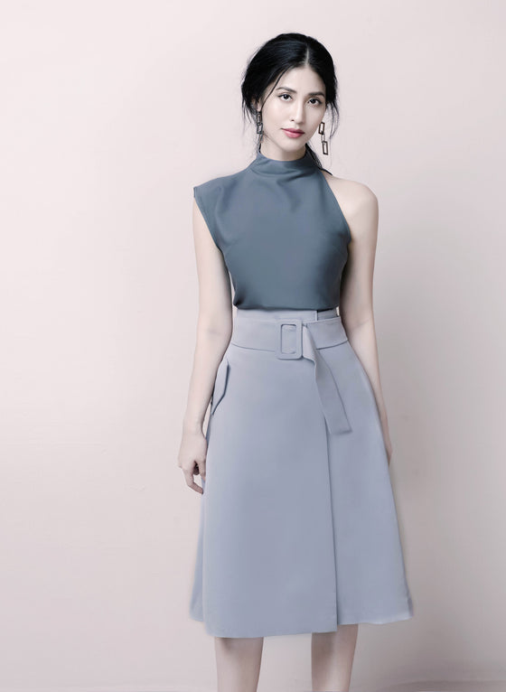 CLAIRE A-LINE BELTED SKIRT